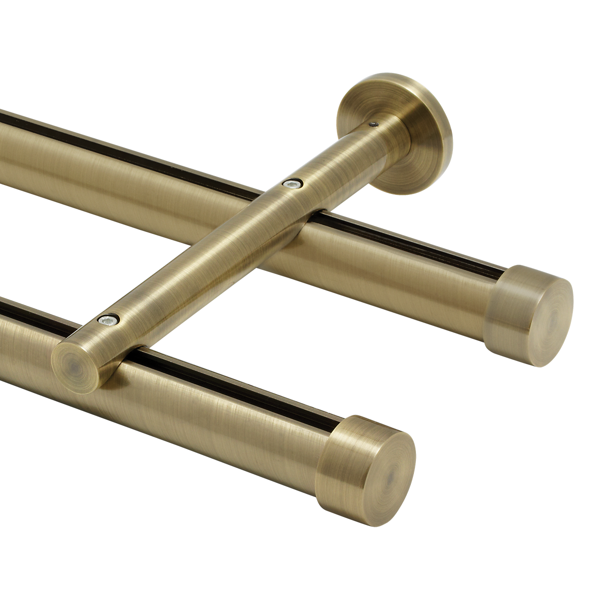 "6' Aria Metal H-RailDouble Traverse Rod Kit~1 1/8"" Curtain"