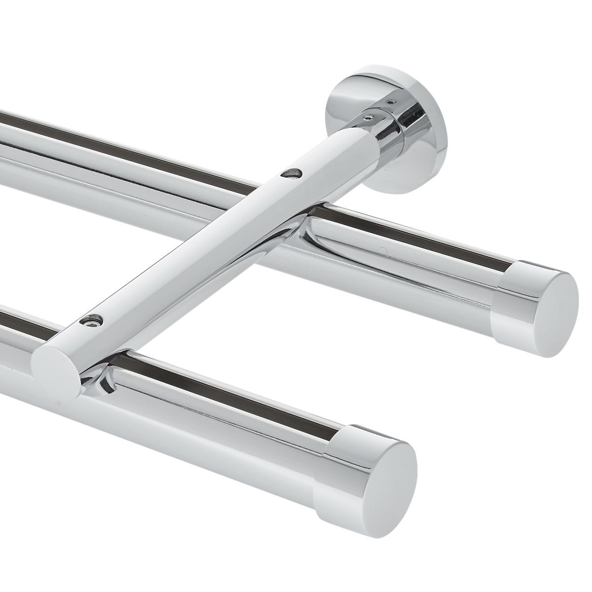 8' Aria Metal H-Rail Double Traverse Rod Kit~1 1/8
