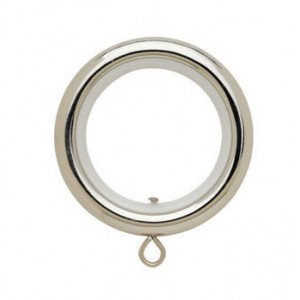 "Round Polished Nickel Curtain Rings with Liner for 3/4"" Metal Drapery Rods~Each"