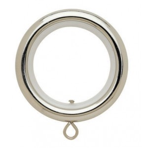 "Round Polished Nickel Curtain Ring with Liner for 1 3/16"" Drapery Rods~Each"