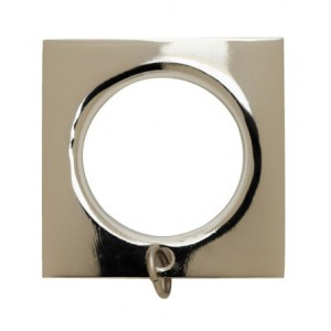 "Square Polished Nickel Curtain Ring for 1 3/16"" Metal Drapery Rods~Each"