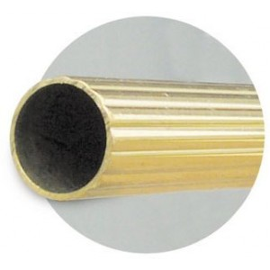 "Brass Reeded Curtain Rod Tubing (by the foot) 5/8"" Diameter"