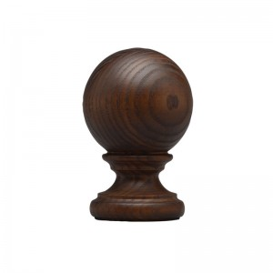 "Rustic Wood Ball Curtain Rod Finial for 2 1/4"" Drapery Rods~Each"