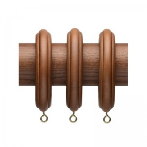 "Ribbed Wood Curtain Rod Rings for 2 1/4"" Drapery Rods~4 Pack"