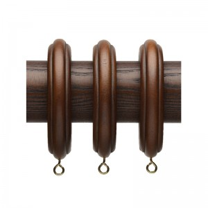 "Ribbed Wood Curtain Ring for 2 1/4"" Drapery Rods~4 Pack"