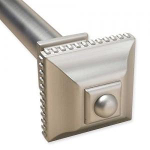 "Ribbed Square Cap Adjustable Double Curtain Rod Set ~ 1"" Diameter"