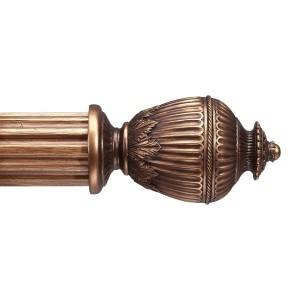 """Rimini Antique Gold Curtain Rod Set~2"""" Rod Diameter"""