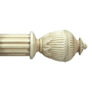 """Rimini Antique White Curtain Rod Set~2"""" Rod Diameter"""