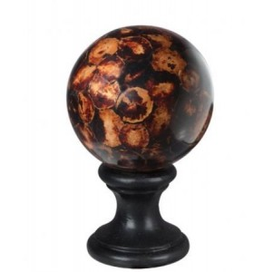 "4"" Brown / Black Leaf Ball Finial"