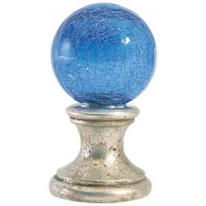 Blue Crackle Ball Finial