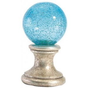 Aqua Blue Crackle Ball Finial