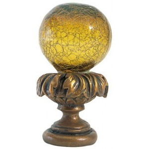 Light Amber Crackle Ball Finial