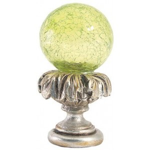 Lime Crackle Ball Finial