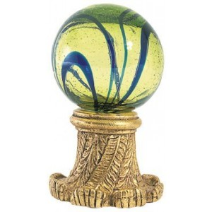 Lime W/Blue Swirl Ball Finial