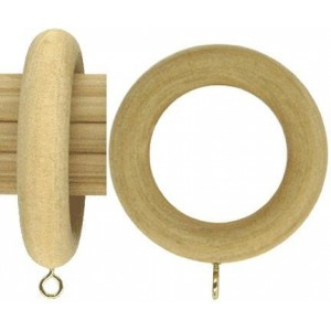 "Smooth Wood Curtain Ring for 2"" Curtain Rods~Each"
