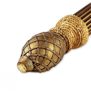Basketweave Finial Burnished Gold ~ Pair