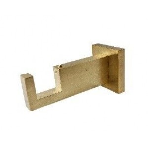 "Brushed Brass Rectangular Bracket for 2"" x 1"" Curtain Rods"