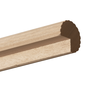 """Routed Reeded Wood Curtain Rod Pole~2"""" Diameter"""