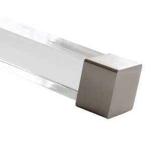"Brushed Nickel End Cap for 1 1/2"" Square Acrylic Rod"