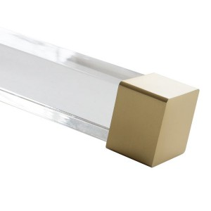 "Satin Gold End Cap for 1 1/2"" Square Acrylic Rod"