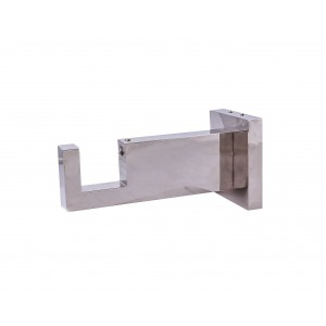 "Polished Nickel Rectangle Bracket for 2"" x 1"" Rod"