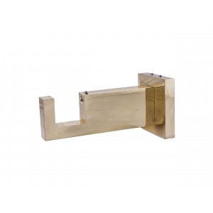 "Polished Brass Rectangular Bracket for 2"" x 1"" Rod"