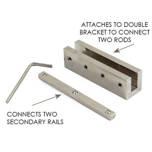Splice Kit Connects 2 Rectangular Drapery Rods & Two Secondary Rails~Each