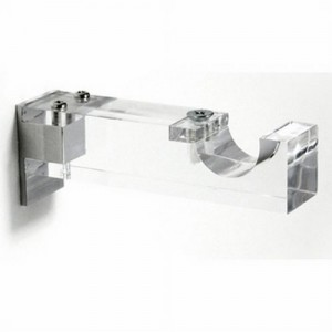 "Clear Acrylic Single Curtain Rod Bracket for 1 1/8"" Drapery Rods"