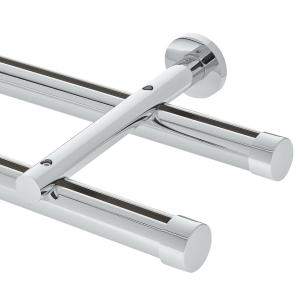 "6' Aria Metal H-Rail Double Traverse Rod Kit~1 1/8"" Curtain Track"