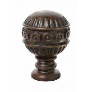 "Chocolate Dome Finial for 2"" Rod Diameter~Each"