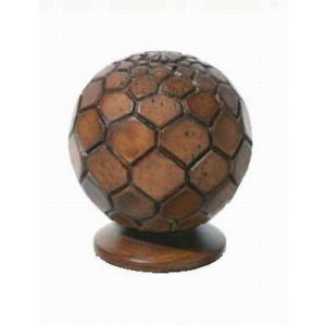 "Chestnut Octagonal Wood Carved Finial for 2"" Rod Daimeter~Each"
