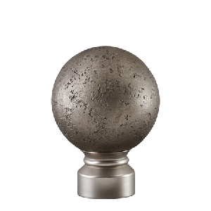 "Nickel/Satin Nickel Rustic Forged Ball Finial for 1 1/8"" Curtain Rod"
