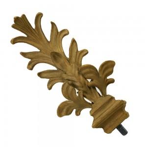 "Leaf Finial for 1/14"" Metal Curtain Rod~Pair"