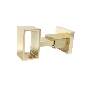 "Polished Brass Loop Bracket for 2"" x 1"" Curtain Rods"