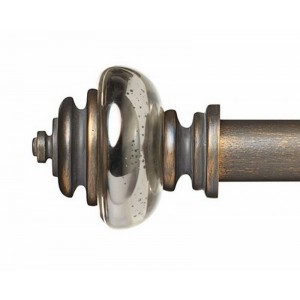 "Lillian Mercury Glass Finial for 1 3/8"" Curtain Rod ~ Pair"