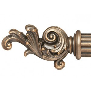"Cambria Curtain Rod Finial for 2 1/4"" Wood Drapery Rods~Pair"