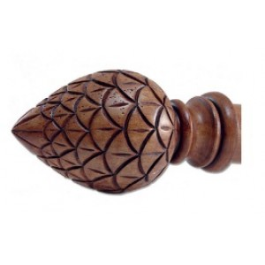"""Pinecone Wood Finial for 2"""" Curtain Rod~Pair"""