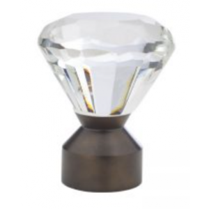 "Solitaire Crystal Finial for 1 3/16"" Metal Drapery Rod~Each"