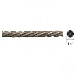 "1 1/4"" Solid Rope Twist Curtain Rod (by the foot)"