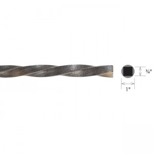 "Steel Single Twist Solid Curtain Rod~1"" Diameter (by the foot)"