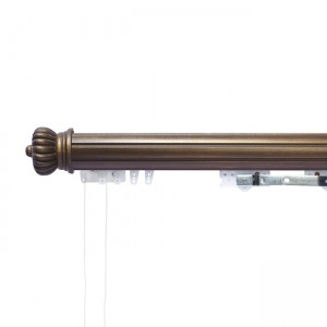14' Fluted Ball Bearing Heavy Duty Corded Traverse Rod with Wood Fascia
