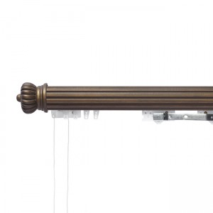 4' Grooved Ball Bearing Heavy Duty Corded Traverse Rod with Wood Fascia
