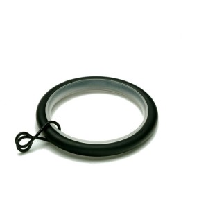 "Black Curtain Rings for 1 1/8"" Curtain Rod~10 Pack"
