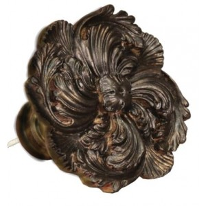 Bronze/Black Scalloped Leaf Top Treatment/Tieback~Each