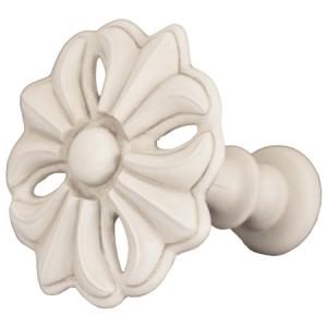 Aged White Fleur Top Treatment/Tieback~Each