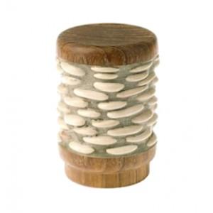 "Light Stone Teak River Stone Pebbles Finiall for 1 3/8"" Curtain Rod~Pair"
