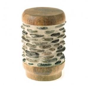 "Dark Stone Teak River Stone Pebbles Finiall for 1 3/8"" Curtain Rod~Pair"