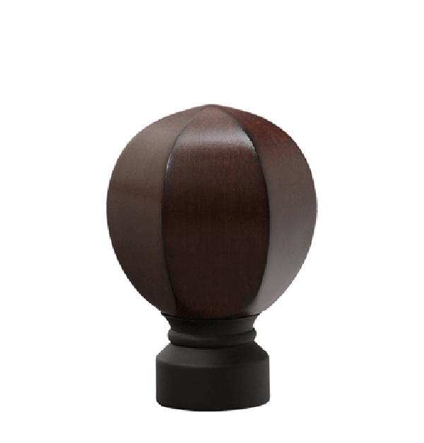"Mahogany/Matte Black Carved Facet Ball Finial for 1 1/8"" Curtain Rod"