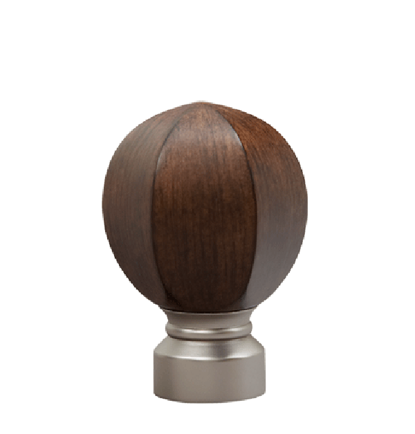 "Walnut/Satin Nickel Carved Facet Ball Finial for 1 1/8"" Curtain Rod"