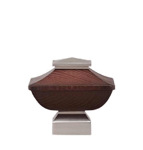 "Mahogany/Satin NIckel Craftsman Wood Finial for 1 1/8"" Curtain Rod"